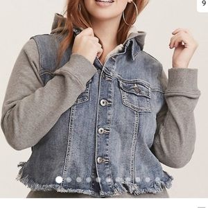 NWOT TORRID Distressed denim and hoodie jacket